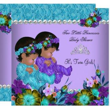 Princess Twin Baby Shower Teal Blue Purple Invitation