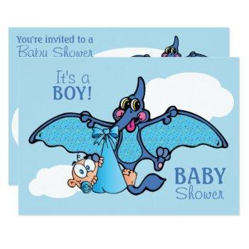 Pterodactyl Dinosaur It's A Boy Baby Shower Invitation