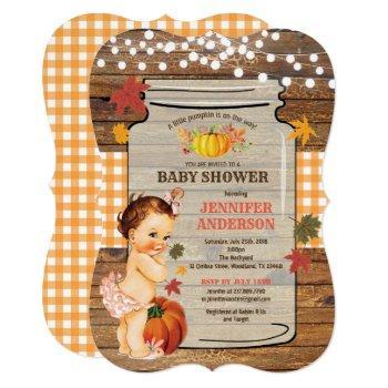 Pumpkin Baby Girl Shower Invitation Rustic Wood