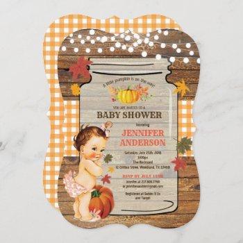 Pumpkin Baby Girl Shower  Rustic Wood