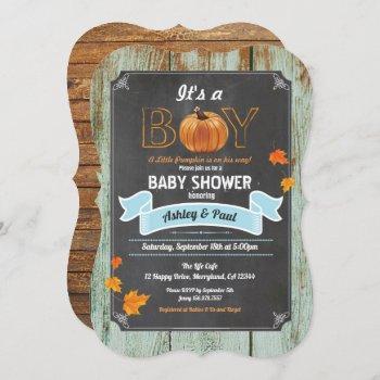 Pumpkin Baby Shower  Rustic Wood Chalk