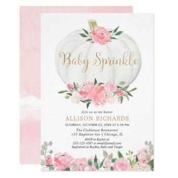 Pumpkin Baby Sprinkle Pink Gold Girl Baby Shower Invitation