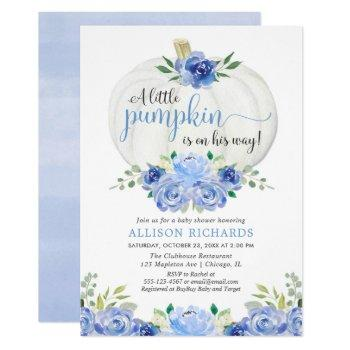 Pumpkin Blue Greenery Floral Fall Boy Baby Shower Invitation