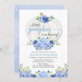 Pumpkin Blue Greenery Floral Fall Boy Baby Shower