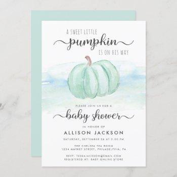 Pumpkin Blue Mint Watercolor Baby Boy Shower