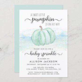Pumpkin Blue Mint Watercolor Baby Boy Sprinkle