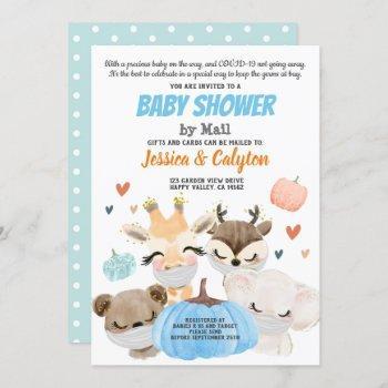 Pumpkin Boy Baby Shower By Mail Woodland Animal Invitation