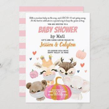 Pumpkin Girl Baby Shower By Mail Woodland Animal Invitation
