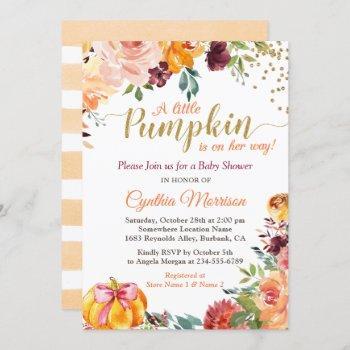 Pumpkin Girl Baby Shower Gold Autumn Fall Floral