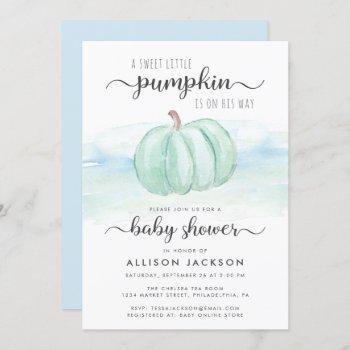 Pumpkin Mint Blue Watercolor Baby Boy Shower