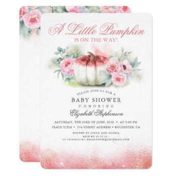 Pumpkin Rose Gold Glittered Fall Baby Shower Invitation