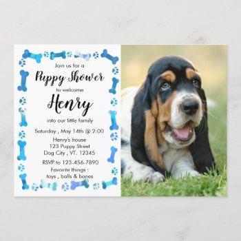 Puppy Shower - Blue Boy Pet - Dog Birthday Puppy Invitation