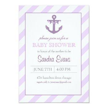 Purple Ahoy Anchor Baby Shower Invitation