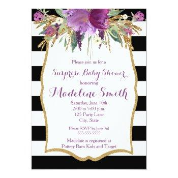Purple And Gold Watercolor Flowers Baby Shower Invitation