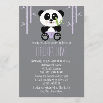 Purple Bamboo Panda In Diapers Baby Shower Invitation