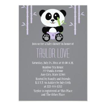 Purple Bamboo Panda In Diapers Baby Shower Invitation