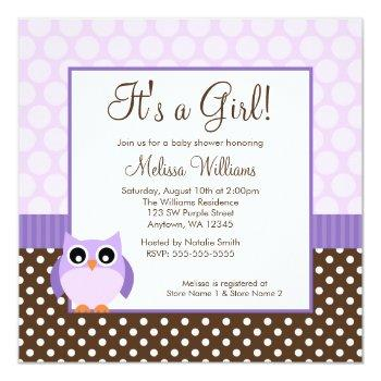 Purple Brown Owl Polka Dot Girl Baby Shower Invitation