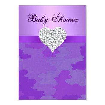 Purple Camo Diamond Heart Baby Shower Invitation