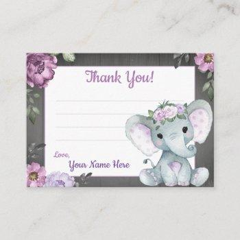 Purple Elephant Rustic Thank You Card