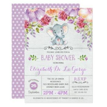 Purple Floral Elephant Baby Girl Shower Invitation