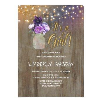 Purple Floral Mason Jar Rustic Baby Shower Invitation