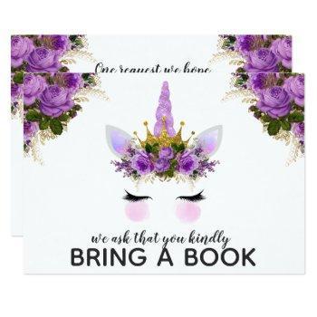 Purple Floral Unicorn Princess Bring A Book Invitation