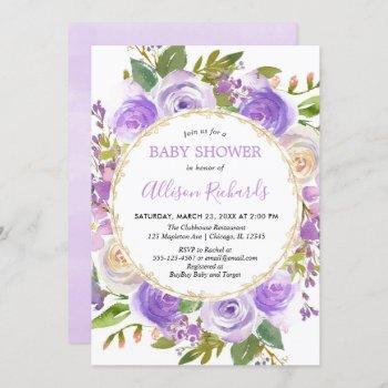 Purple Girl Baby Shower, Floral Lavender Lilac Invitation