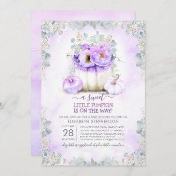 Purple Glitter Little Floral Pumpkin Baby Shower