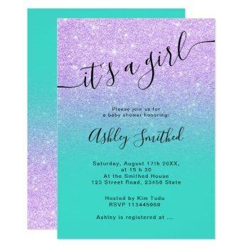 Purple Glitter Turquoise Ombre Script Baby Shower Invitation