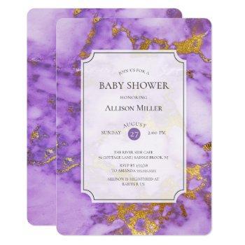 Purple & Gold Baby  Shower Invitation