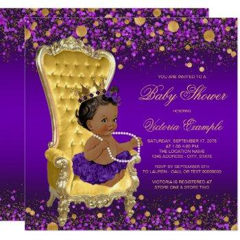 Purple Gold Chair Ethnic Princess Baby Shower Invitation