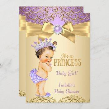 Purple Gold Damask Princess Baby Shower Brunette Invitation