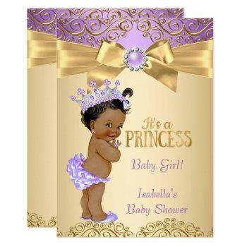 Purple Gold Damask Princess Baby Shower Ethnic Invitation