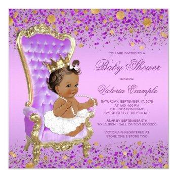 Purple Gold Ethnic Princess Baby Shower Invitation