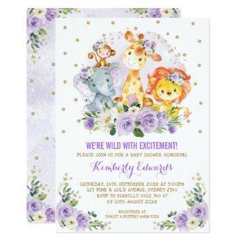 Purple Gold Girl Jungle Safari Baby Shower Invitation