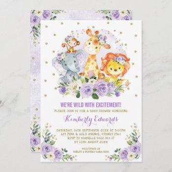 Purple Gold Girl Jungle Safari Baby Shower