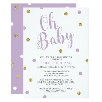 Purple & Gold Glitter Oh Baby Shower Invitation