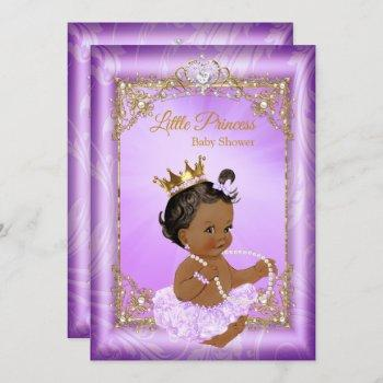 Purple Gold Princess Baby Shower Ethnic Girl Invitation