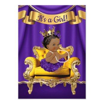 Purple Gold Princess Baby Shower Invitations