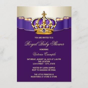 Purple Gold Princess Crown Baby Shower Invitation