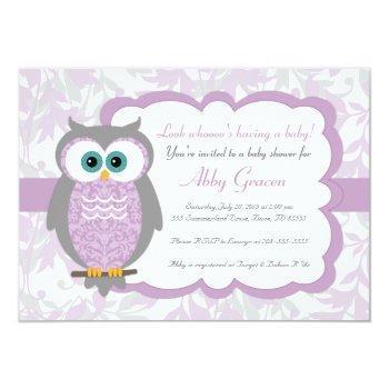 Purple, Gray, Owl Baby Shower Invitations - 730