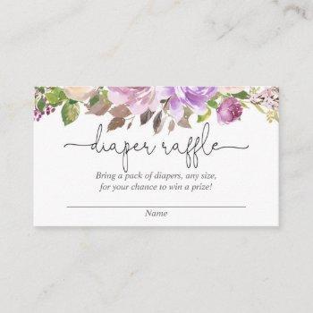 Purple Lavender Baby Shower Diaper Raffle Cards