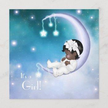 Purple Moon Ethnic Baby Girl Shower Invitation