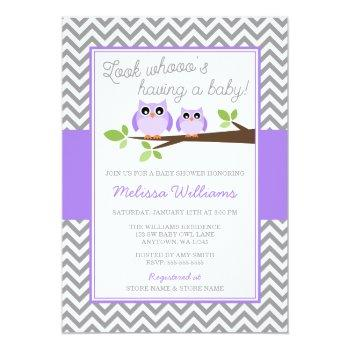 Purple Owl Gray Chevron Girl Baby Shower Invitation