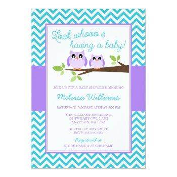 Purple Owl Teal Chevron Girl Baby Shower Invitation