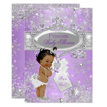 Purple Princess Winter Baby Shower Ethnic Invitation