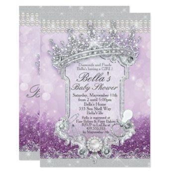 Purple Royal Bling Glitter Baby Shower Invitations