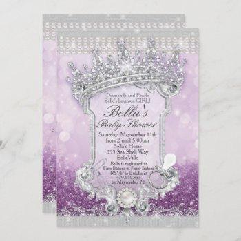Purple Royal Bling Glitter Baby Shower Invitations