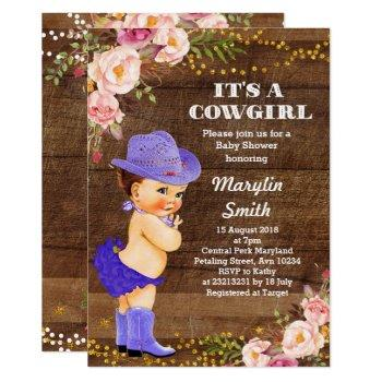 Purple Rustic Cowgirl Baby Shower Card