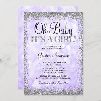Purple Silver Faux Glitter Lights Girl Baby Shower Invitation